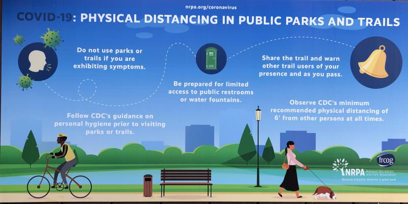COVID-19: PHYSICAL DISTANCING IN PUBLIC PARKS AND TRAILS SIGN